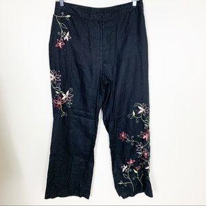 J. Jill 100% Linen Black Floral Embroidered Pants